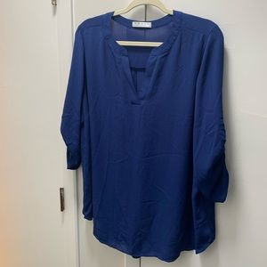 Royal blue sheer 3/4 top